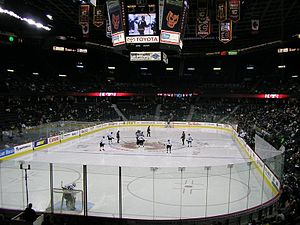 Western Hockey League - Calgary Hitmen in action against the Saskatoon Blades