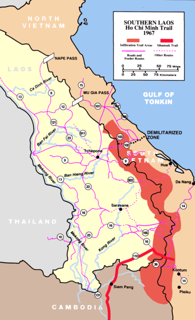 The Ho Chi Minh trail, known as the Truong Son Road by the North Vietnamese, cuts through Laos. This would develop into a complex logistical system which would allow the North Vietnamese to maintain the war effort despite the largest aerial bombardment campaign in history. HoCMT.png
