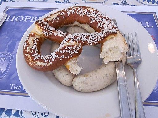 Hofbrau Miami weiswurst pretzel