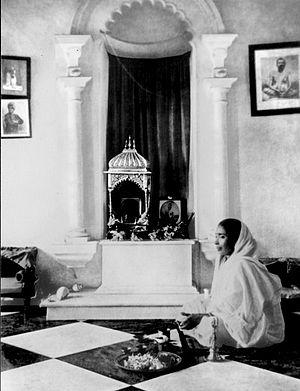Udbodhan - Sarada Devi worshiping at her Udbodhan residence in Calcutta.