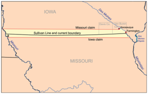 Des Moines Rapids - Map showing Des Moines Rapids in relation to the Sullivan Line which was subject of the Honey War.