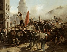 Barrikadenkampf in der Rue Soufflot, Paris, 25. Juni 1848 (Juniaufstand)[115] (Quelle: Wikimedia)