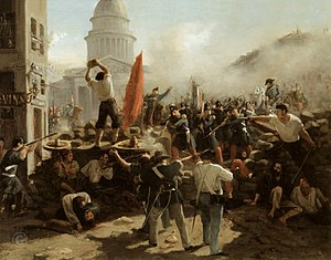June Days uprising - Painting of a barricade on Rue Soufflot (with the Panthéon behind), Paris, June 1848. By Horace Vernet.