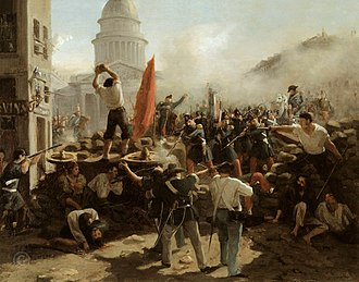 Revolutions of 1848 - Barricade on the rue Soufflot, an 1848 painting by Horace Vernet. The Panthéon is shown in the background.