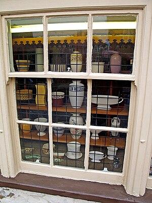 Hornsea Museum - Hornsea Pottery in a window at Hornsea Museum.