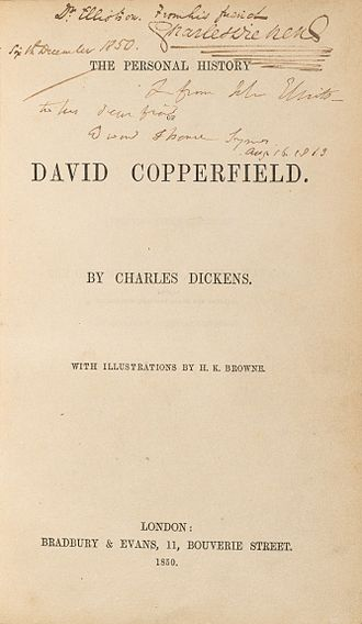 David Copperfield - Image: Houghton HEW 2.6.15 Dickens, David Copperfield