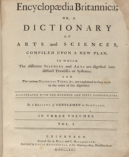 Title page of the first edition of the Encyclopædia Britannica Houghton Typ 705.71.363 Encyclopaedia Britannica, 1771 - title page.jpg