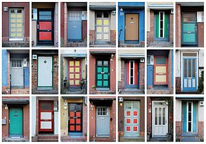 Bruno Taut - Color variations of doors and entrances in the Hufeisensiedlung in Berlin (1925-1933)