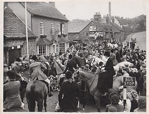Groby - The village centre around 1920, The Stamford Arms, former home of the Everard family became a pub in 1921. According to Groby Heritage Group, the tall chimney belonged to a quarry.