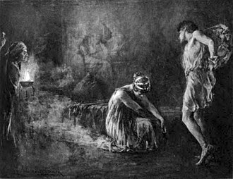 Hypatia (novel) - Hypatia at the feet of Philammon. Drawn by Lee Woodward Zeigler, 1899