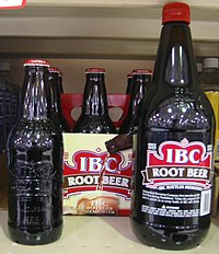 IBC Root Beer, two bottle sizes