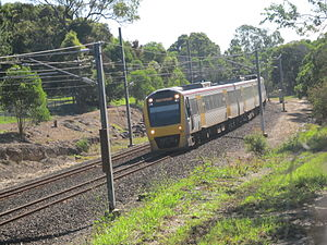 Rail electrification in Queensland - Interurban multiple unit on the Gold Coast line in June 2012