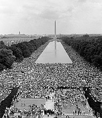 View from the Lincoln Memorial toward the Washington Monument on August 28, 1963