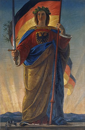 Germania (personification) - Painting from 1848, creator unknown. This image  once covered the old organ inside the Paulskirche, above where the Frankfurt Parliament assembled from 1848 to 1849.