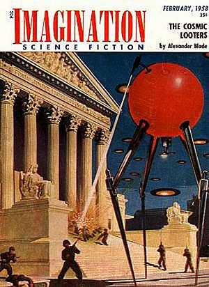 Alien invasion - Cover of Imagination, February 1958 depicting an alien invasion. Authors: Greenleaf Publishing / Malcolm Smith