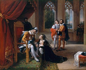 Inês de Castro - Inês de Castro with Her Children at the Feet of Afonso IV, King of Portugal, Seeking Clemency for Her Husband, Don Pedro, 1335. Painting by Eugénie Servières, 1822.