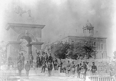 Inauguration of the Sebastopol Monument in 1860. The monument was built to honour Nova Scotians who fought in the Crimean War. Inauguration of the Welsford-Parker Monument, Halifax, Nova Scotia, Canada, 17 July 1860 - restored.jpg