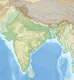 """Mapa konturowa Indii, blisko dolnej krawiędzi po prawej znajduje się punkt z opisem """"Nikobary"""""""