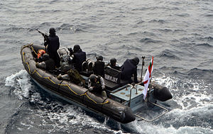 Special Forces of India -  MARCOS on Indian Navy rescue boat belonging to INS Ranvijay (D55) during exercise INDRA 2014