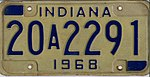 Indiana 1968 license plate - Number 20A2291.jpg