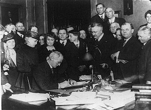 James P. Goodrich - Governor James P. Goodrich signs the Indiana prohibition act, 1917.