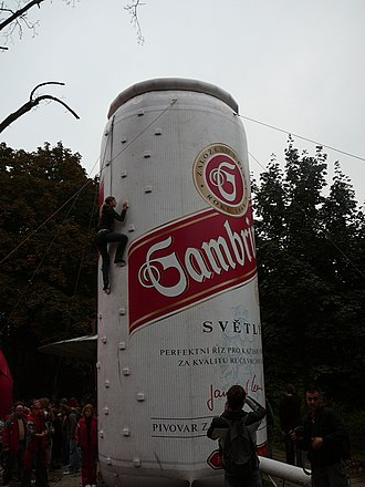 "Gambrinus (beer) - ""Climbing can"" in Brno"