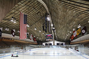 Ingalls Rink - Rink interior with timbered roof