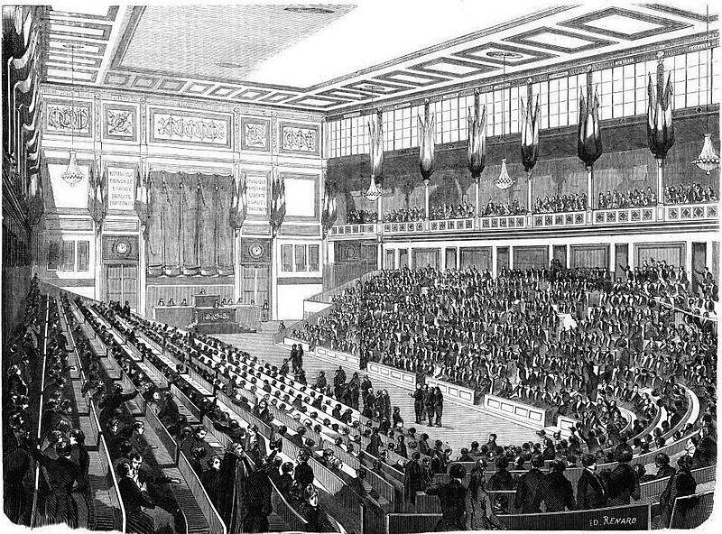"""Wikipedia : """"Vue intérieure de la salle de l'Assemblée nationale"""". Date1848 SourceJournées illustrées de la Révolution de 1848, Paris, 1849."""