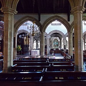 St Helen's Church, Abingdon - Inside St Helen's, looking south from the outer north aisle through all four arcades to the outer south aisle