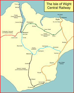 Isle of Wight Central Railway - System map of the Isle of Wight Central Railway