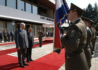 President of Croatia - An honor guard in front of the Presidential Palace normally welcomes foreign heads of state.
