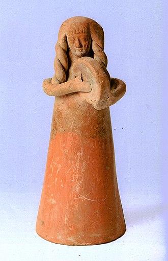 Tympanum (hand drum) - Image: Israeli National Maritime Museum Fgurine Iron Age I Ib