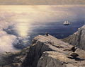 Ivan Constantinovich Aivazovsky - A Rocky Coastal Landscape in the Aegean with Ships in the Distance (detail).JPG