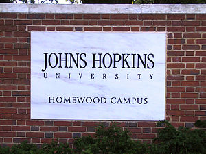 Charles Street (Baltimore) - Johns Hopkins University sign