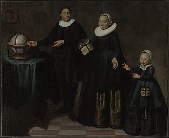 Abel Tasman - Portrait of Abel Tasman, his wife and daughter. Attributed to Jacob Gerritsz Cuyp, 1637 (not authenticated).