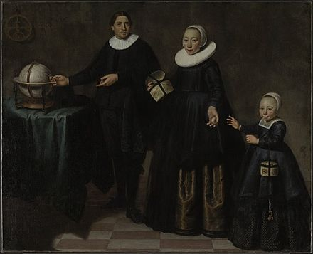 Dutch explorer Abel Tasman with his wife and daughter, the first Europeans to reach Van Diemen's Land (now Tasmania) Jacob Cuyp - Abel Tasman, his wife and daughter.jpg