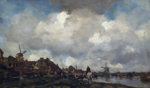 Jacob Maris - Village near Schiedam, oil on canvas - 48,5 x 78,5 cm, Dordrechts Museum