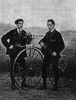 James Moore (cyclist) - James Moore, (right) winner of Paris–Rouen 1869, Jean-Eugène-André Castera, (left) runner up.