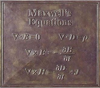 James Clerk Maxwell Foundation - Maxwell's celebrated equations as depicted on the James Clerk Maxwell Statue in Edinburgh