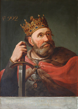 Crown of Bolesław I the Brave - King Bolesław I wearing the crown (Painting by Jan Bogumił Jacobi, 1828)