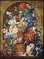 Jan van Huysum - Still life of flowers in a terracotta vase, before a niche - 1734.jpg