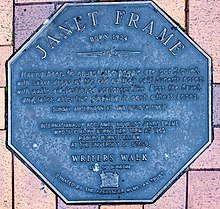 Janet Frame memorial plaque in Dunedin.jpg