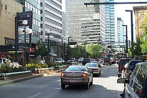 Jasper Avenue - Looking west along Jasper Avenue from 101 Street (2007).