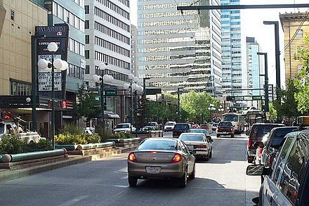 Jasper Avenue is Edmonton's hub of offices and the financial centres. JasperRoadEdmt.jpg
