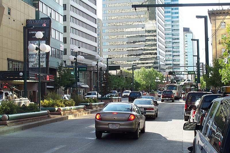 Image looking west down Jasper Avenue showing the major financial centre in Edmonton