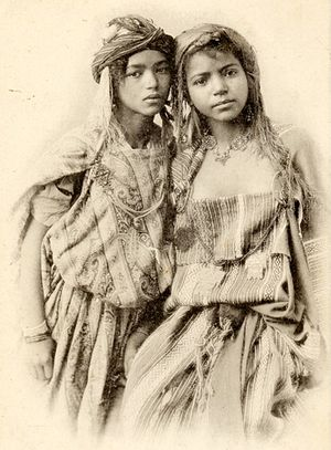 Women in Algeria - Photograph of two Algerian women from Bou Saâda, c. 1906.
