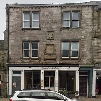 Jedburgh Library - The first Carnegie Library still has a plaque in the High Street