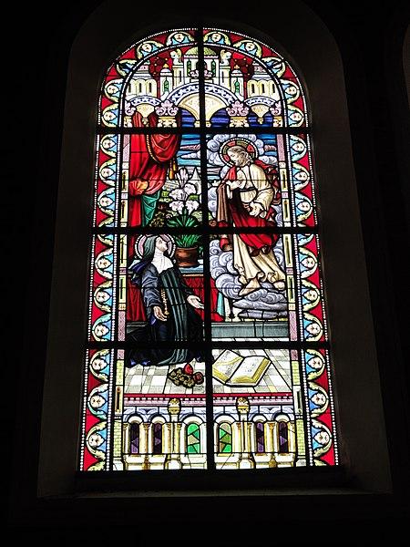 Jeumont (Nord, Fr) église St.Martin, vitrail 07 le Sacré Coeur et Margareta Maria Alacoque