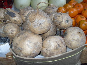 English: Jicama at a market in Taxco, Mexico
