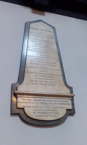 John Newton - Memorial plaque to Newton and his wife at St Mary Woolnoth